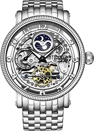 Stührling Original Mens Automatic Watch, Skeleton Watch Analog Dial, Silver Accents, Dual Time, AM/PM Sun Moon, Stainless Steel Bracelet, 3922 Watches for Men Collection (Women Stuhrling Watches)