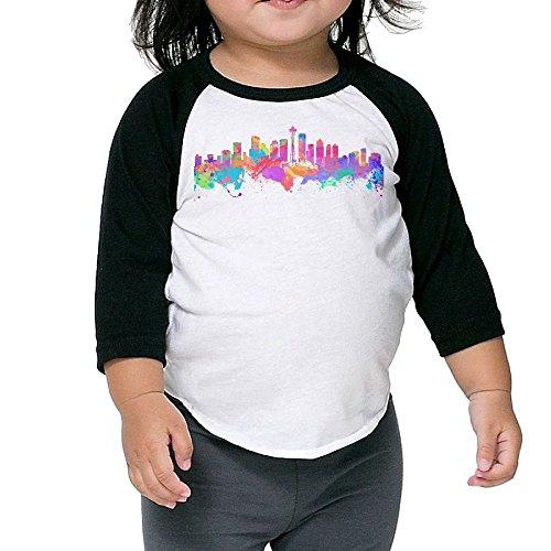 SH-rong Watercolor Seattle Skyline Kids Custom Tee Size4 - Skyline Seattle Sunglasses