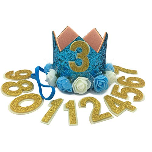 JAMSTONE Crown Dog Birthday Party Hat Reusable Cat Dog Headwear Caps Adorable Puppy Kitten Flower Birthday Headdress Pet Birthday Costume Blue from JAMSTONE