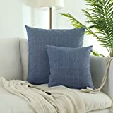 Decorative Pillow Cover - Kevin Textile 2018 Spring New Decorative Checkered Weaving Cotton Linen Throw Pillowcase Cushion Covers for Bed/Sofa (26 x 26 Inch, Little Boy Blue) , Set of 2