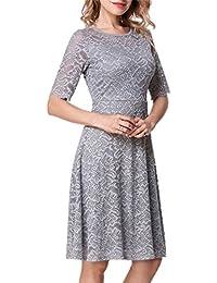 Women's Elegant Lace 3/4 Sleeve Crew Neck Swing Wedding Party Dress Plus Size
