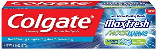 Colgate Max Fresh Shockwave Gel Toothpaste, Electric Mint 6 oz (Pack of 12)