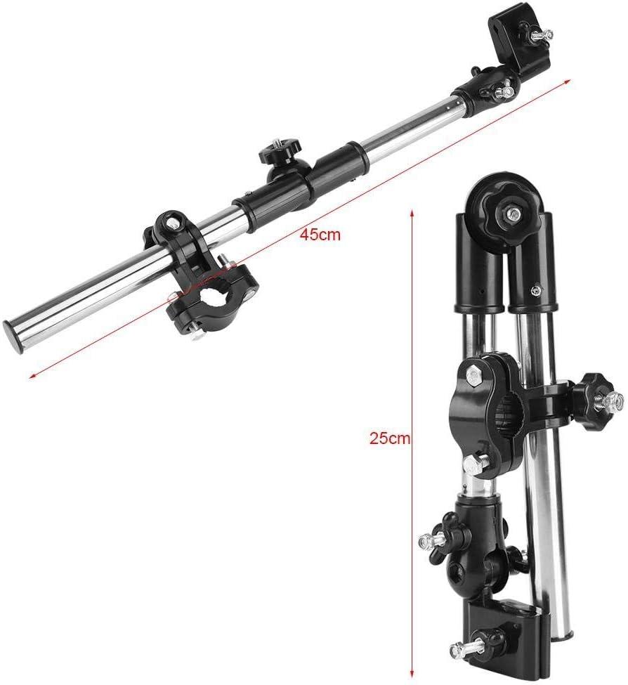 Negro 360 /° Ajustable Paraguas para bicicleta Soporte para montaje en estiramiento Cochecito para beb/é Silla de paseo de ruedas Accesorios para sillas Parag/üero para cochecito