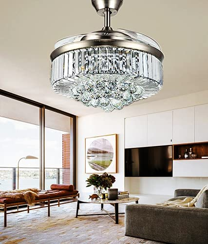 Best living room chandelier: Sweety House 42″Crystal Ceiling Fan Chandelier Remote Control Invisible Telescopic Fan Blade