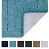Tomoro Microfibers Non-Slip Bathroom Rug – Quick Dry, Super Absorbent and Soft Luxury Hotel Door Carpet Shower Shaggy Bath Mat Waterproof TPR Non-Skid Backing 20 x 32 inch Teal