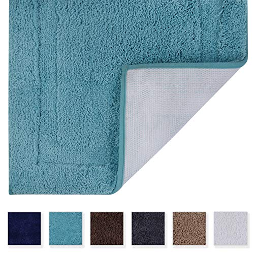 - Tomoro Microfibers Non-Slip Bathroom Rug – Quick Dry, Super Absorbent and Soft Luxury Hotel Door Carpet Shower Shaggy Bath Mat Waterproof TPR Non-Skid Backing 24 x 39 Teal