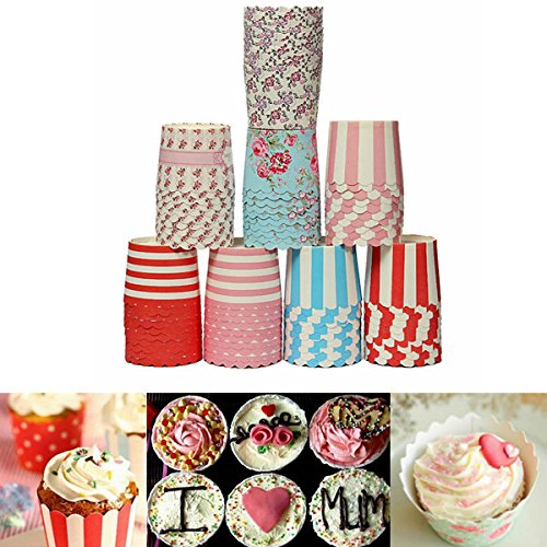 50Pcs Greaseproof Muffin Cupcake Cups Paper Baking Liners(Random: Pattern)