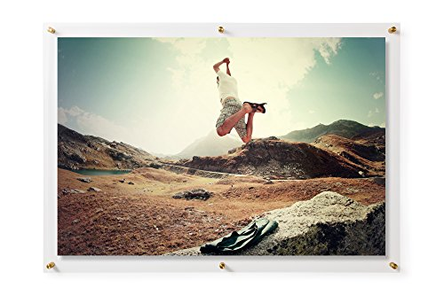 Wexel Art 28x40-Inch Double Panel Grade Acrylic Floating Frame with Gold Hardware for for, 24x36-Inch Art & Photos