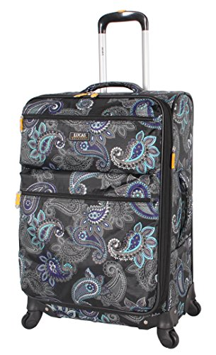 "Lucas Printed Softside 20"" Carry On Lightweight Expandable Luggage with Spinner Wheels (20in, Diva)"