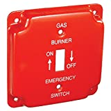 2 Pcs, 4 Square Emergency On/Off Toggle Switch Cover for Gas Powered Applications, Steel, Silk-Screened w/Fuel-Type & Power On/Off Indication