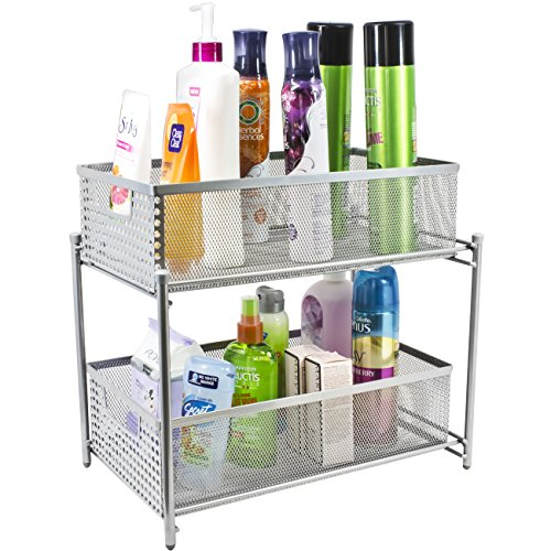 The Ideal Kitchen Under Sink Drawers: Sorbus 2 Tier Organizer Baskets With Mesh Sliding Drawers