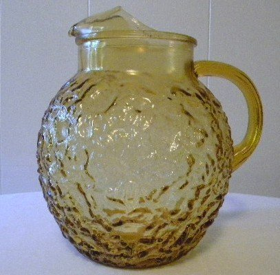 Vintage Anchor Hocking Lido Milano Amber Pitcher Carafe - (Amber Crinkle Pitcher) (Milano Collection Storage)