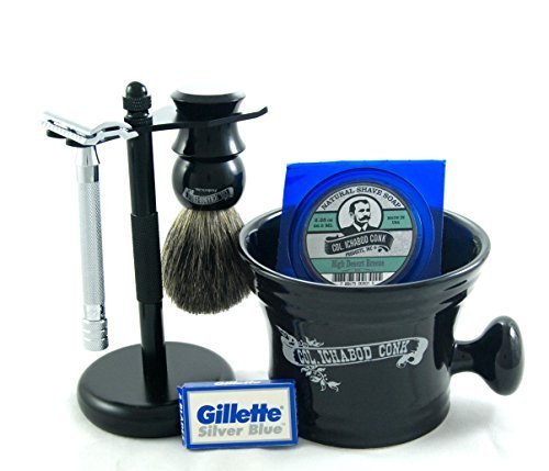 Colonel Conk Shave Kit - Safety Razor, Bowl, Badger Brush, Shave Soap, Stand, and Extra Blades - Black Edition Colonel Ichabod Conk Straight Razor