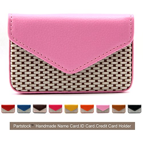 Partstock Multipurpose PU Leather Business Name Card Holder Wallet Leather Credit card ID Case/Holder/Cards Case with Magnetic Shut.Perfect Gift - Pink