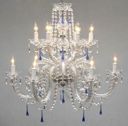 スワロフスキークリスタルトリムシャンデリア。Authenticすべてクリスタルシャンデリアシャンデリアwith Blue Crystals 。 B00MV7QQJ4