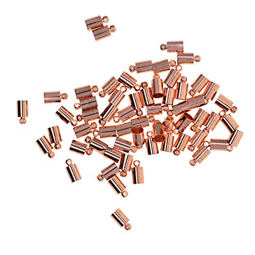 Cord Plated End (MagiDeal 50 Pieces Barrel Leather Cord Ends Cord End Cap Brass Plated Use Satin Cord, Leather, Imitation Leather Kumihimo Glue in to Make a Necklace Bracelet - rose gold)