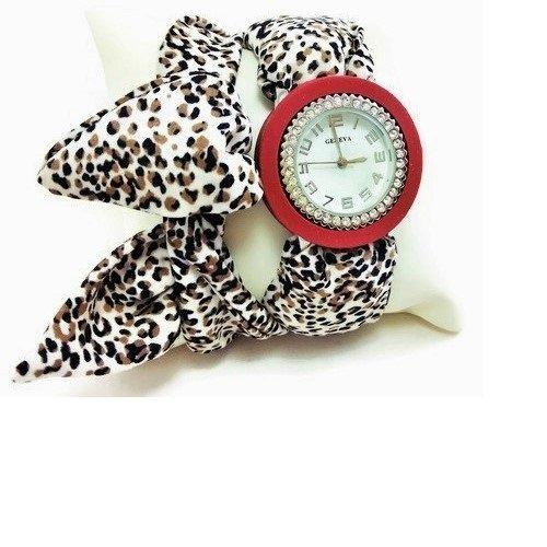 Burgundy wrist wrap bracelet watch for women Silicone around wristwatch Rubber (Tone Wood Bangle)