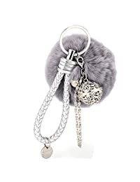 Keychain,Shensee Fur Ball Cell Phone Keyrings Car Pendant Handbag Charm Key Ring (Gray)