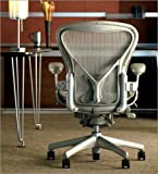 Herman Miller Aeron Chair Highly Adjustable with PostureFit Lumbar Support and Adjustable Arms - Large Size (C) Smoke Titanium Frame, Classic Quartz Pellicle Mesh Home Office Desk Task Chair