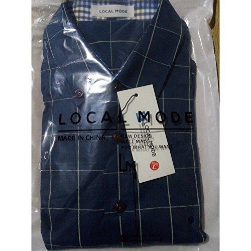 LOCALMODE Men's 100% Cotton Long Sleeve Plaid Slim Fit Button Down Dress Shirt,Acid Blue,X-Large