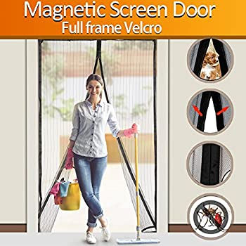 bestope magnetic screen door heavy duty mesh curtain screen and full frame velcro top