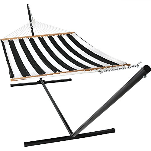 Sunnydaze 2 Person Freestanding Quilted Fabric Spreader Bar Hammock with 15-Foot Stand, 400 Pound Capacity, Black and White