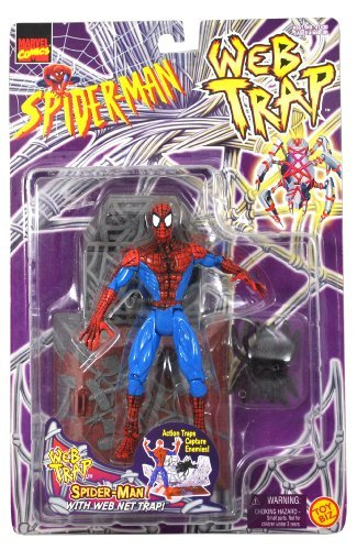 Web Trap - Marvel Comics Year 1997 Spider-Man Web Trap Series 5-1/2 Inch Tall Action Figure Set : SPIDER-MAN with Action Web Net Trap That Capture Enemies