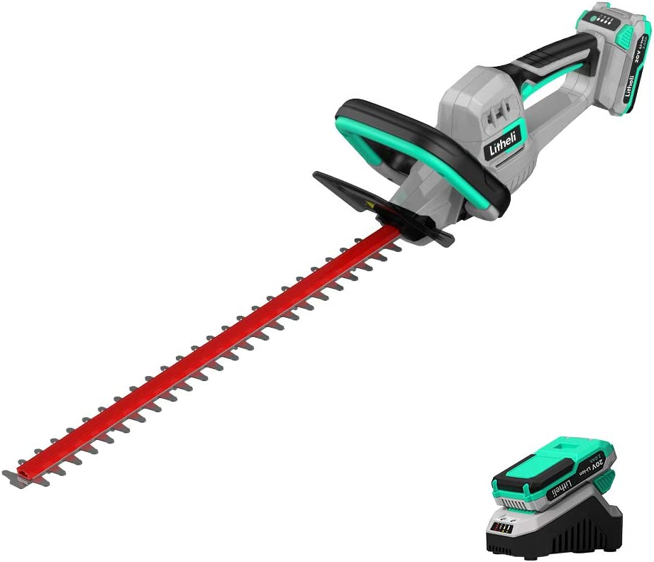 LiTHELi 20V Cordless 20-Inch Battery Powered Hedge Trimmer, with 2.0Ah Battery and Charger, for Brush & Hedge Trimming, Yard & Garden Care