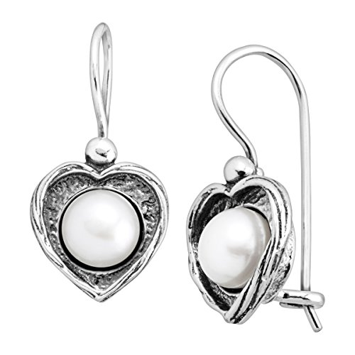 Silpada Forever Fearless 6.5-7 mm Freshwater Cultured Pearl Heart Drop Earrings in Sterling Silver