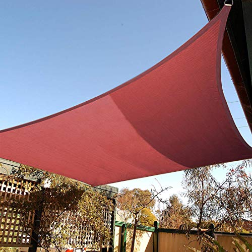 Artpuch 8'x10' Rectangle Sun Shade Sails Canopy Rust Red, 185GSM Shade Sail UV Block for Patio Garden Outdoor Facility and Activities