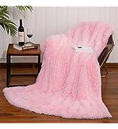 "Zareas Soft Fluffy Faux Fur Throw Blanket, 50"" x 60"" Decorative Plush Fuzzy Throw, Warm Lightweig..."