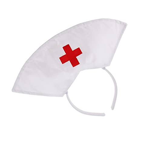 Womens White Nurse Cap Hat Headband Party Fancy Dress Costume Accessories