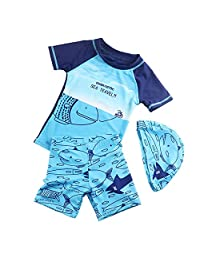 Boys Swimwear Sets,Kids Bathing Suit with Hat UPF 50+ Sun Protection Flexible Stretched Rashguard 18-24 Month