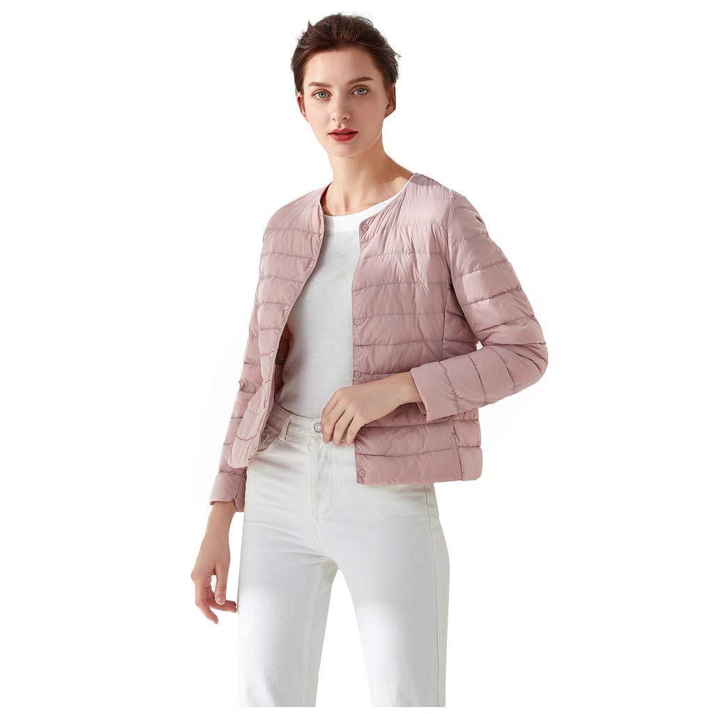 Ularma Womens Puffer Jacket Crewneck Petite Packable Down Jacket Down Coats Winter Basic Lightweight Coat Spring Office