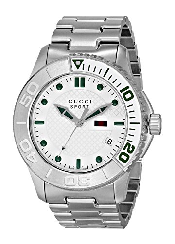 Gucci G Timelss Silver Dial Stainless Steel Mens Watch YA126232