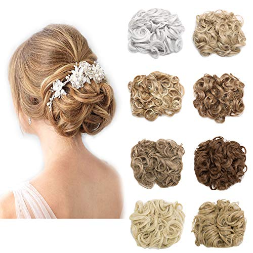 Messy Curly Hair Bun Extension Easy Stretch Hair Dish Chignon Scrunchy Updo Donut Wedding Hairpieces Combs Clip in Ponytail Trap Ponytail(Light Brown)