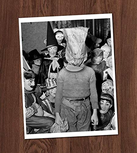 Creepy Boy Paper Bag Mask Vintage Photo Art Print 8x10 Wall Art Halloween School Class Kids Children Costumes