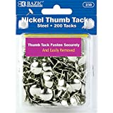 BAZIC Nickel Thumb Tack, Silver, 200 Per Pack (230)