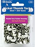 Office Products : BAZIC Silver Thumb Tacks. 200 Push Pins for Crafts and Office Organization
