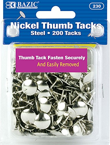 BAZIC Silver Thumb Tacks. 200 Push Pins for Crafts and Office Organization