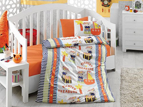 Pirates Treasure, 100% Cotton Baby Boys Crib Bedding, Baby Duvet Cover Set, Baby Comforter Included, Made in Turkey - 5 Pieces (Pirates Treasure Orange)