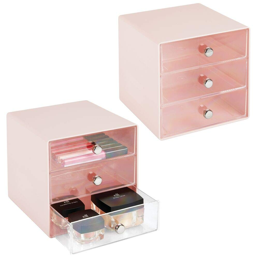Blush Countertops Brushes Holds Lip Gloss Eyeshadow Palettes mDesign Plastic Makeup Organizer Storage Station Cube 2 Pack 3 Drawers for Bathroom Vanity Cabinet Mascara White//Clear MetroDecor 04560MDC