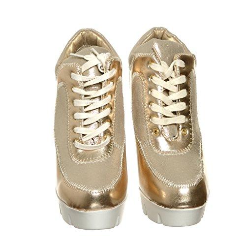 Rispondi Alle Nuove! Sneakers Alte In Pizzo Con Zeppa Gldfab