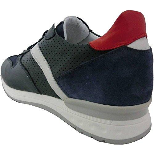 Exton Scarpe Uomo 3014 m 4212 0 0156 Havana-Blue 665 Made in Italy - Sneaker Pelle-camoscop Tela Combinazione 1, Blu
