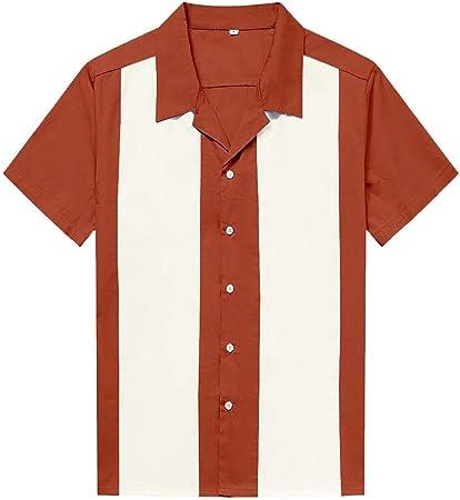 ZIXERN Camisa Casual de Manga Corta para Hombre Contraste Calle Camisa del Punk Cadera Color de