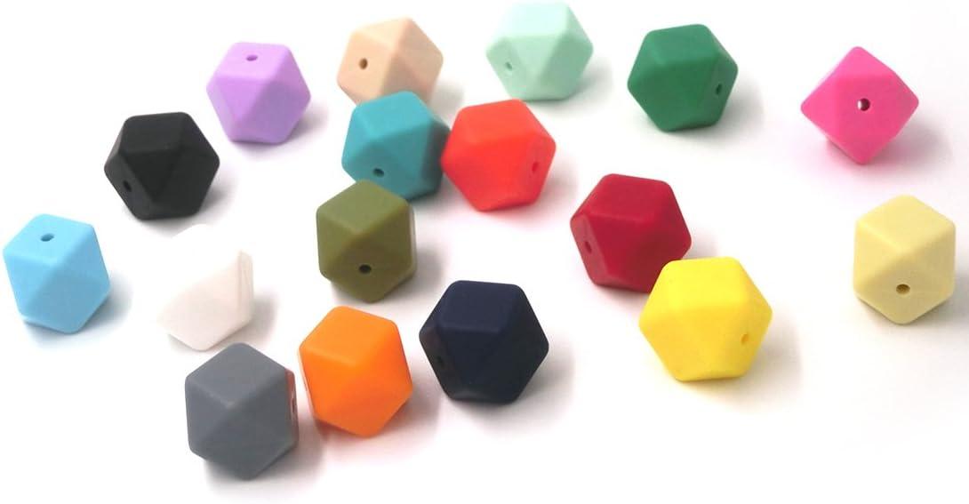 Couleur m/élang/ée 100Pcs Coskiss 100Pcs B/éb/é Aliments Silicone Teether Hexagon Perles Mixte Couleur 17mm DIY Collier // Bracelet Jouets 0.669in