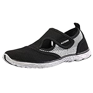 Aleader Men's Quick-dry Slip On Water Shoes Black/Gray 10.5 D(M) US