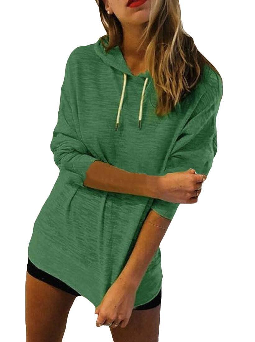 Easonp Womens Casual Long Sleeve Solid Drawstring Hooded Sweatshirts Tops