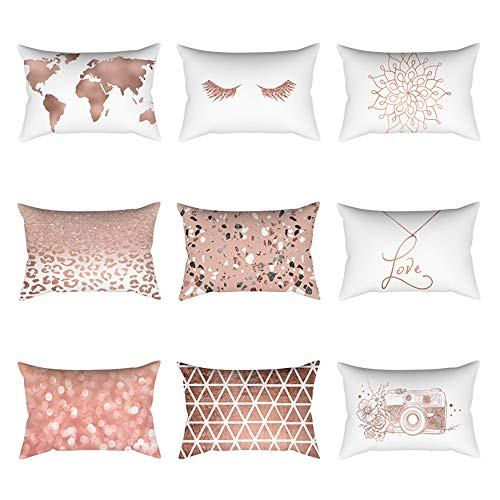 Pausseo Rose Gold Powder Pillowcase, Cotton Linen Square Pillow Cover Cushion Sofa Waist Throw Pillowcase Home Decoration Office Car Bed Decor Wrinkle Resistant Pillowslip Gift Set by Pausseo (Image #1)