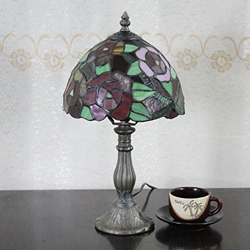 (8-Inch Pastoral Romantic Stained Glass Tiffany Peony Table Lamp Bedroom Lamp Bedside Lamp)
